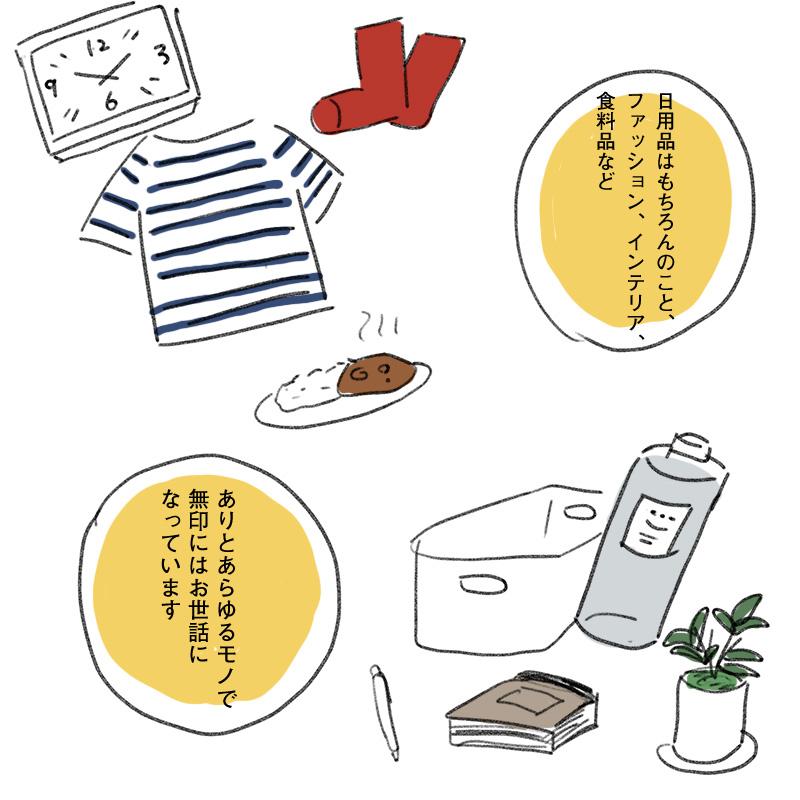 日用品はもちろんのこと、ファッション、インテリア、食料品など